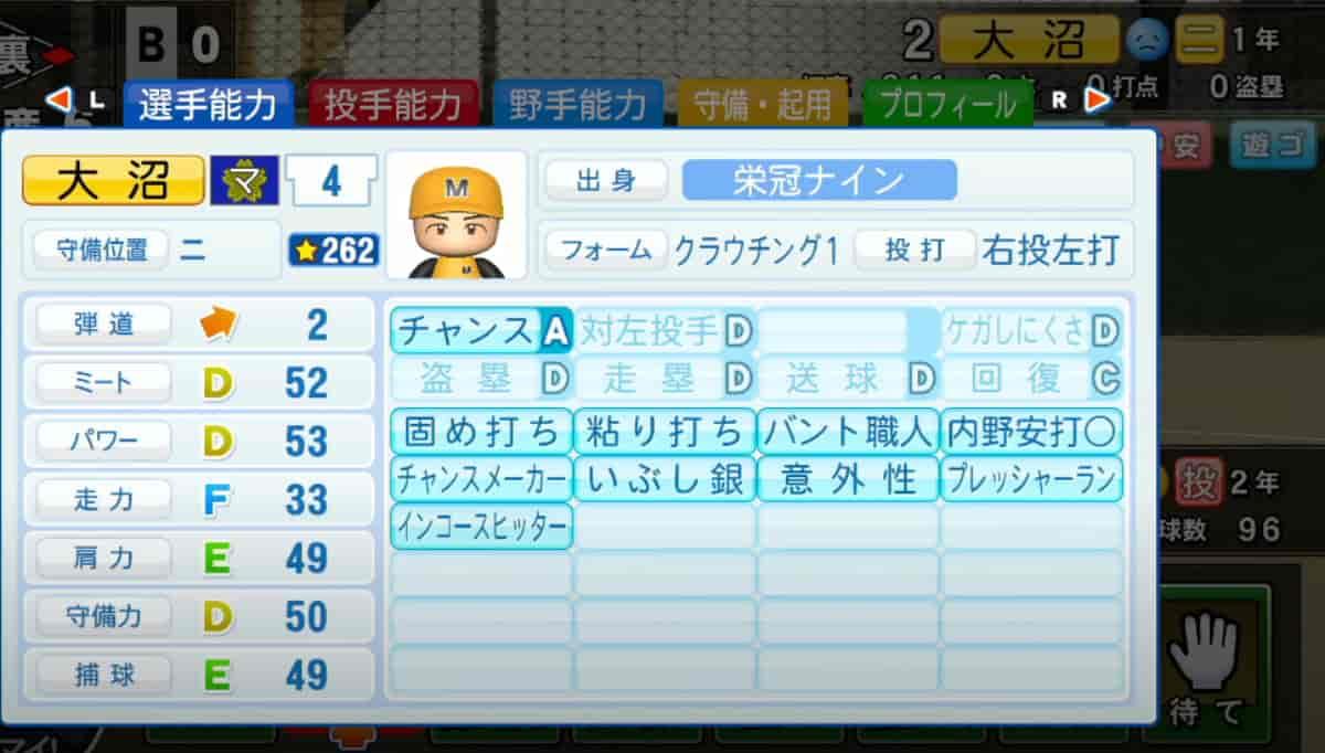栄冠ナインの選手詳細画面