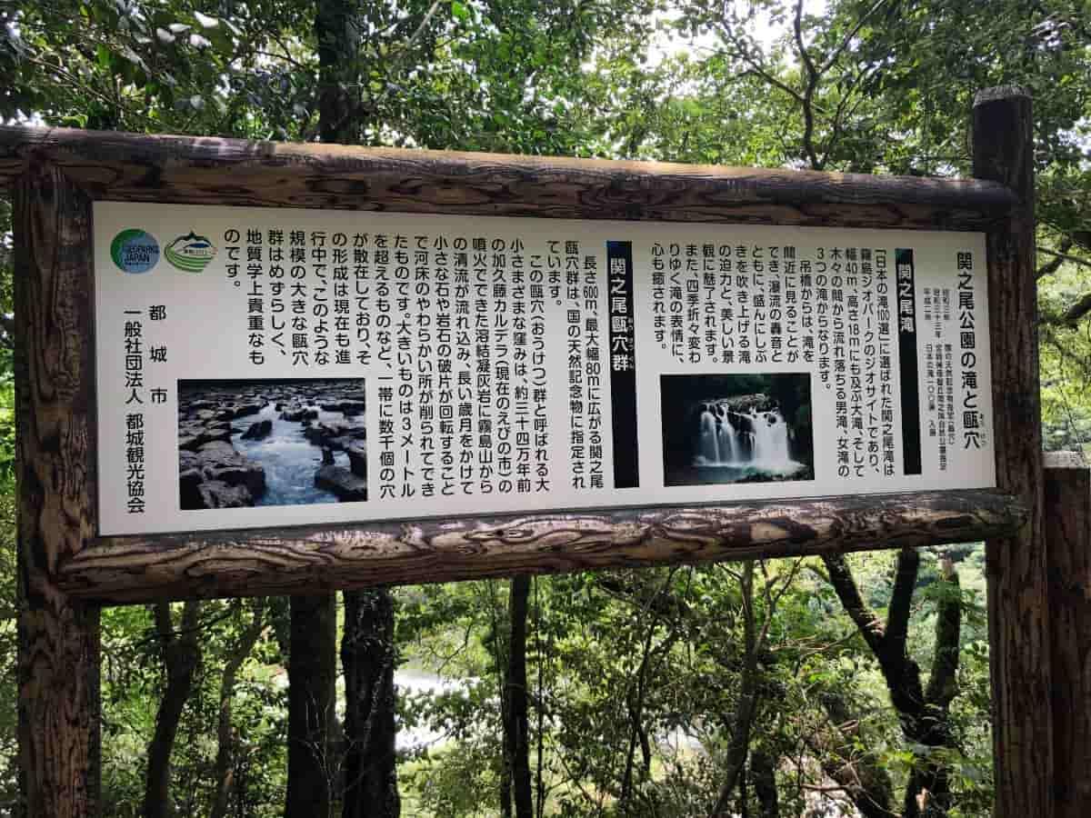 関之尾の滝の甌穴群の説明